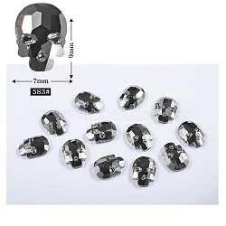 Accessoires de décoration d'art d'ongle de clou en verre strass arrière plat, facette, crane, argenterie, 9x7mm(MRMJ-P002-03-583)