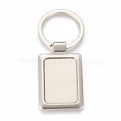 trousseau de paramètres de cabochon en alliage de zinc, avec anneau en fer, rectangle, platine, plateau: 22x32 mm; 75 mm; 49x29.5x3 mm; 1 pc / box(KEYC-E028-08P)