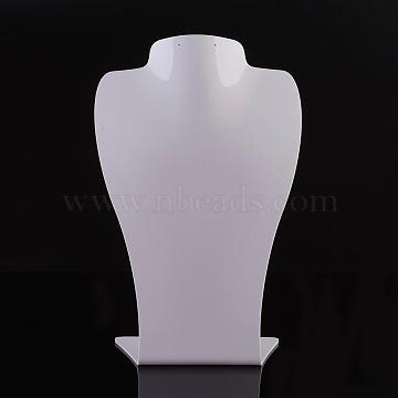 Organic Glass Necklace Displays, Necklace Bust Display Stand, White, 290x186x89mm(NDIS-P002-01A-L)