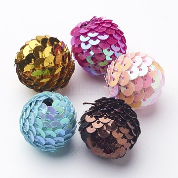 Mixed Color Round Handmade Woven Beads, Beads with Paillette, about 20mm long, 22mm wide, hole: 3mm(X-WOVE-CR177Y-M)