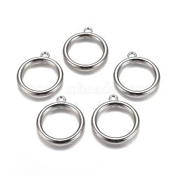 пластмассовые подвески ccb, круглая форма кольца, платина, 34x30x3.5 mm, отверстия: 2.5 mm(CCB-L011-060P)