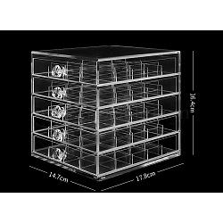 Acrylic Nail Art Tool Box, Makeup Storage Box, Five Layers, Clear, 14.7x17.8x16.4mm; 20compartment/layer(MRMJ-R070-10)