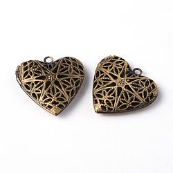 Coeur filigranes creux pendentifs laiton diffuseur médaillon, bronze antique, environ 26 mm de diamètre, Trou: 2mm(X-ECF135-1AB)