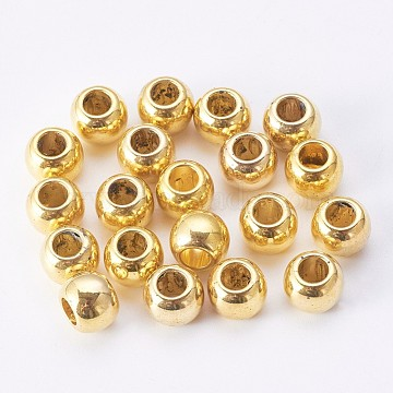 CCB Plastic European Beads, Large Hole Rondelle Beads, Golden, 10x8mm, Hole: 4mm(CCB-J028-09G)