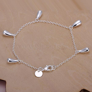 Exquisite Brass teardrop, Charm Bracelets For Women, with Lobster Clasps, Silver Color Plated, 7-7/8 inches(20cm)(BJEW-BB12576)
