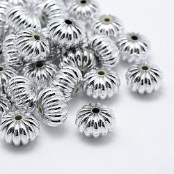 Perles en plastique environnemental plaqué, citrouille, argenterie, 12x8mm, Trou: 1.5mm(X-KY-K002-06S)