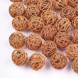 Perles de fil de fer environnementales peintes par pulvérisation, rond, corail, 15~17mm(IFIN-T009-10F)