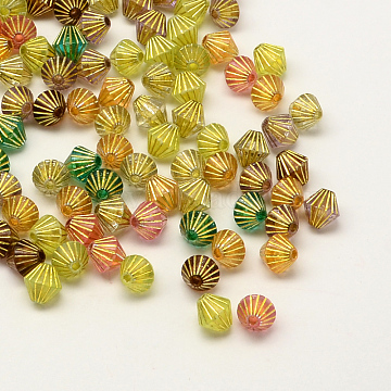 Plating Transparent Acrylic Bicone Beads, Gold Metal Enlaced, Mixed Color, 8x8mm, Hole: 2mm(X-PACR-Q100-05)