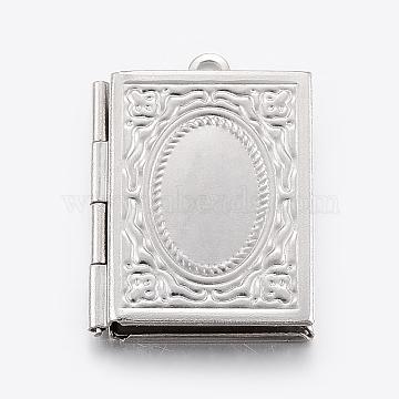 304 Stainless Steel Locket Pendants, Rectangle, Stainless Steel Color, 10x15mm Inner Diameter; 26.5x19x4.5mm; Hole: 2mm(X-STAS-E421-003P)