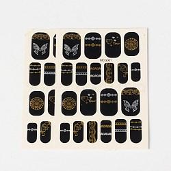 Autocollants en papier de tatouages temporaires de faux styles amovibles, métalliques ongles autocollants, or, 18~26x8~16 mm; environ 2 PCs / sac(AJEW-O025-02)