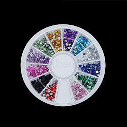 Cabochons de strass en verre à dos plat, accessoires nail art de décoration, demi-rond, couleur mixte(MRMJ-Q032-015I)