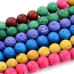 """Chapelets de perles de lave naturelle, teint, rond, couleur mixte, 8~8.5mm, trou: 1mm; environ 47 pcs/chapelet, 14.96"""" (38 cm)(G-S247-8mm-M)"""
