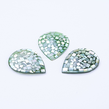 Natural White Shell Mother of Pearl Shell Cabochons, teardrop, 40.5~41x31x2.5~3.5mm(SSHEL-F301-36)