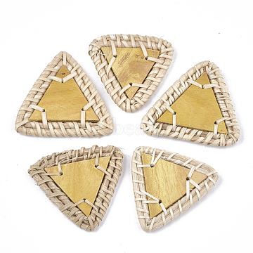 43mm Goldenrod Triangle Rattan Beads