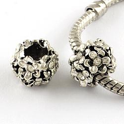 Argent antique alliage plaqué strass fleur grand trou perles européennes, cristal, 11x8mm, Trou: 5mm(X-MPDL-R041-04A)
