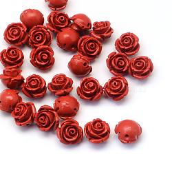 Perles fleur de cinabre, firebrick, 11~12x9mm, Trou: 1~2mm(CARL-Q003-07)