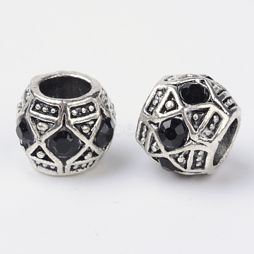 Alloy Rhinestone Rondelle Large Hole European Beads, Antique Silver, Jet, 11x9mm, Hole: 5mm(X-MPDL-R036-80A)