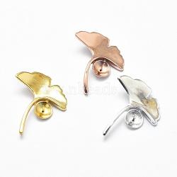 925 en argent sterling bails pendentif, pour la moitié de perles percées, feuille de ginkgo, sculpté 925, couleur mélangée, Plateau: 6 mm, 23x18x2 mm, trou: 2x6 mm, pin: 0.7 mm(STER-P040-08)