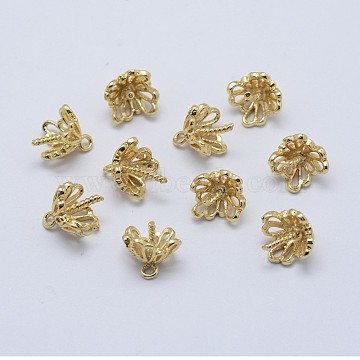 Brass Cup Pearl Peg Bails Pin Pendants, For Half Drilled Beads, Long-Lasting Plated, Real 18K Gold Plated, Nickel Free, Flower, 10x9mm, Hole: 1mm; Pin: 1mm(X-KK-F727-86G-NF)