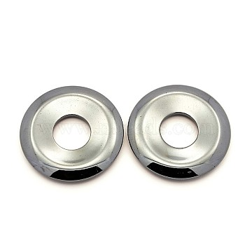 Non-magnetic Synthetic Hematite Pendants, Grade AA, Donut/Pi Disc, Donut Width: 14.75mm, 45x6.5mm, Hole: 15.5mm(X-G-N0050-45)