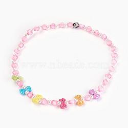 """Acryliques perles de colliers d'enfants, avec des perles en agate, bowknot & coeur & rond, rose, 19.29"""" (49 cm)(NJEW-JN02235-01)"""