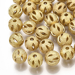 Brass Filigree Beads, Filigree Ball, Round, Textured, Round, Real 18K Gold Plated, 10mm, Hole: 1.6mm(X-KK-S34-251A)