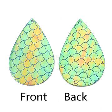 PU Leather Big Pendants, teardrop, with Mermaid Fish Scale Pattern, MediumAquamarine, 70x45x1mm, Hole: 1.5mm(X-FIND-T020-079A)