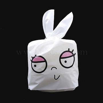 Kawaii Bunny Plastic Candy Bags, Rabbit Ear Bags, Gift Bags, Two-Side Printed, Hot Pink, 22.5x14cm(X-ABAG-Q051B-12)