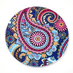 Gros pendentifs en bois imprimés, teint, plat rond, colorées, 60x2.5mm, Trou: 1.5mm(X-WOOD-S043-01)