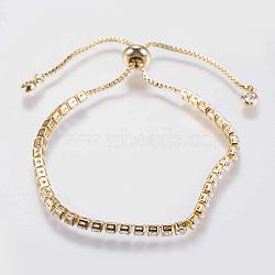 """Bracelets en zircone cubique à micro-cuivré en laiton réglable, bracelets bolo, Bracelets coulissants, or, 8-1/2"""" (215 mm)(BJEW-G588-01G)"""