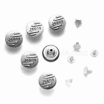 Iron Jeans Buttons, Garment Accessories, Flat Round with Word Jeans, Gunmetal, 17x7.5mm, Hole: 1.8mm; Pin: 7.5x8mm; Knob: 2.5mm; 2pcs/set(BUTT-Q044-13B)