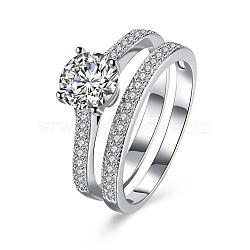 Bagues en 925 argent sterling à la mode, anneau zircone cubique, rond, taille 8, platine, 18.1mm(RJEW-BB18899-8)