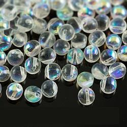 Perles de verre tchèques, rond, clair ab, 6mm, trou: 0.8 mm; environ 35 pcs / 10 g(X-GLAA-F101-D08)
