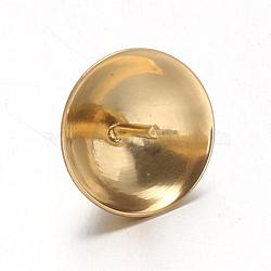 304 tasse en acier inoxydable poire perle bails broches pendentifs, pour la moitié de perles percées, or, 8mm, trou: 1.5 mm; broches: 0.7 mm(STAS-G170-16G-8mm)
