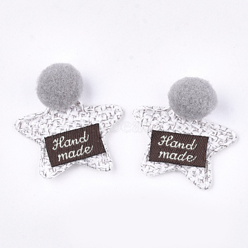 Handmade Cotton Cloth Costume Accessories, Star with Word Handmade, WhiteSmoke, 33~38x32~33x12~13mm(X-FIND-T021-25A)
