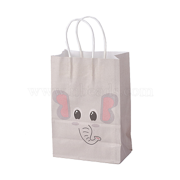 kraft Paper Bags, with Handles, Gift Bags, Shopping Bags, Rectangle, Elephant Pattern, AntiqueWhite, 21.3x14.9x8cm(CARB-F005-01E)