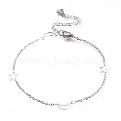 304 Stainless Steel Cable Chain Anklets, with Moon & Star Links and Lobster Claw Clasps, Stainless Steel Color, 9-1/8 inches(23cm)(AJEW-M026-07P)