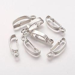 laiton beignet bails, Donuthalter, fit pour pendentifs disque pi fabrication de bijoux, sans nickel, platine, 30x9 mm, trou: 3.5x5 mm(X-KK356-NF)