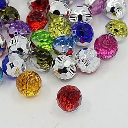 Boutons en acrylique avec strass, 1-trou, facette, rond, couleur mixte, 12x11x10mm, Trou: 1mm(BUTT-J005-M)