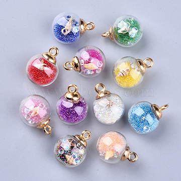 Transparent Glass Globe Pendants, with Resin & Resin Rhinestone & Conch Shell & Glass Micro Beads inside, Plastic CCB Pendant Bails, Round, Golden, Mixed Color, 21.5x16mm, Hole: 2mm(X-GLAA-S181-06)