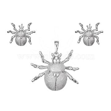 Textured Brass Stud Earrings & Pendant Sets, Insect, Platinum, 21x25.5x6mm, Hole: 3x6mm, 14x16x5.5mm, Pin: 0.8mm(SJEW-L191-03P)