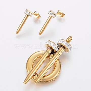 304 Stainless Steel Jewelry Sets, Pendants and Stud Earrings, with Polymer Clay Rhinestone, Golden, 50x25x12mm, Hole: 5mm; 20x7mm, Pin: 0.8mm(SJEW-P095-03G)