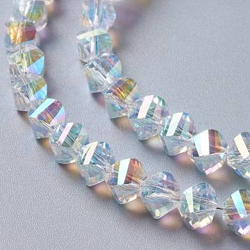 Glass Imitation Austrian Crystal Beads, Faceted Twist, Clear AB, 8x6mm, Hole: 1.4mm(GLAA-F108-08B)