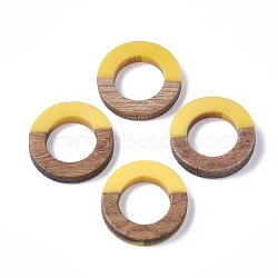 Anneaux de liaison en résine et bois, anneau, or, 18x4mm(RESI-S358-21E)