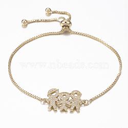bracelets réglables en laiton à micro-pavé de zircons cubiques, bracelets de slider, avec des chaînes de boîte en laiton, famille, or, 10-1 / 4 (260 mm)(BJEW-G583-11G)