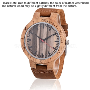 Zebrano Wood Wristwatches, Men Electronic Watch, with Leather Watchbands and Alloy Findings, SaddleBrown, 260x23x2mm; Watch Head: 56x48x12mm, Watch Face: 37mm(WACH-H036-21)