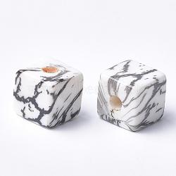 Perles acryliques imprimées, cube, noir, 15x15x15mm, Trou: 3.5mm(MACR-T024-62A)