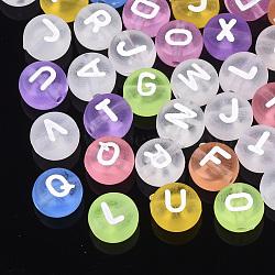 Perles en acrylique transparente, rond et plat avec alphabet, couleur mixte, 7x3.5mm, Trou: 1.2mm(X-MACR-Q236-03)