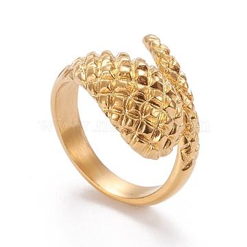 304 Stainless Steel Cuff Rings, Open Rings, Textured, Golden, Size 6~9, Inner Diameter: 16.5~18.9mm(RJEW-R133-006G)