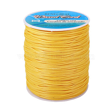 BENECREAT Waxed Polyester Cord, Champagne Yellow, 1mm; about 200yards/roll(600 feet/roll)(YC-BC0001-01A)